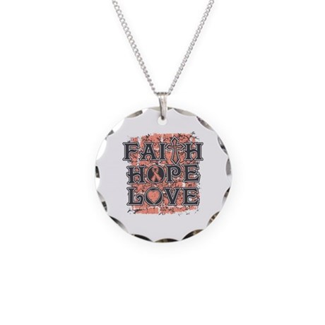 Endometrial Cancer Faith Hope Love Necklace Circle