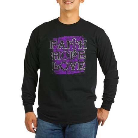 Cystic Fibrosis Faith Hope Love Long Sleeve Dark T