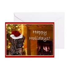 Happy Holidays Mastiff Puppy Greeting Cards