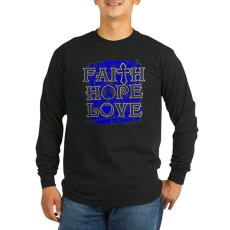 Colon Cancer Faith Hope Love Long Sleeve Dark T-Sh