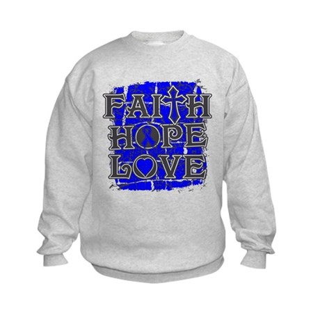 Colon Cancer Faith Hope Love Kids Sweatshirt