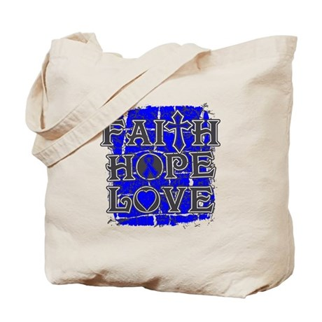 Colon Cancer Faith Hope Love Tote Bag
