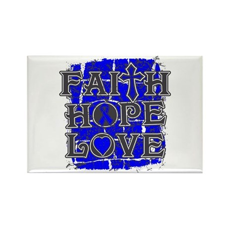 Colon Cancer Faith Hope Love Rectangle Magnet