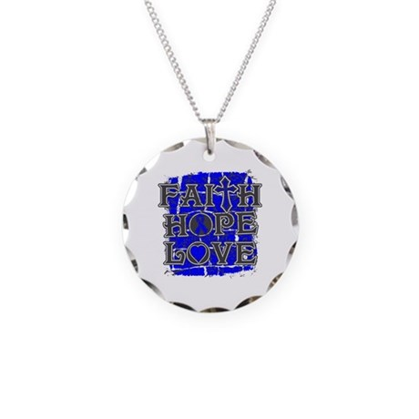 Colon Cancer Faith Hope Love Necklace Circle Charm
