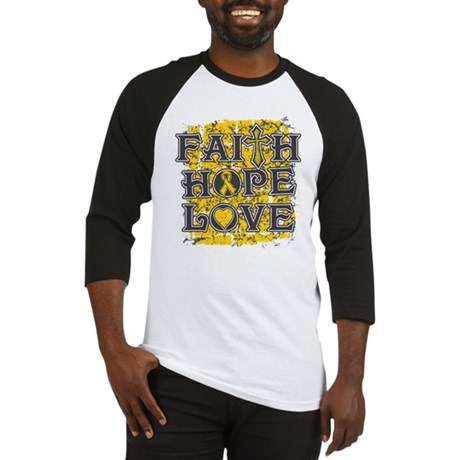 Childhood Cancer Faith Hope Love Baseball Jersey