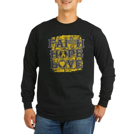 Childhood Cancer Faith Hope Love Long Sleeve Dark