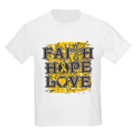 Childhood Cancer Faith Hope Love Kids Light T-Shir