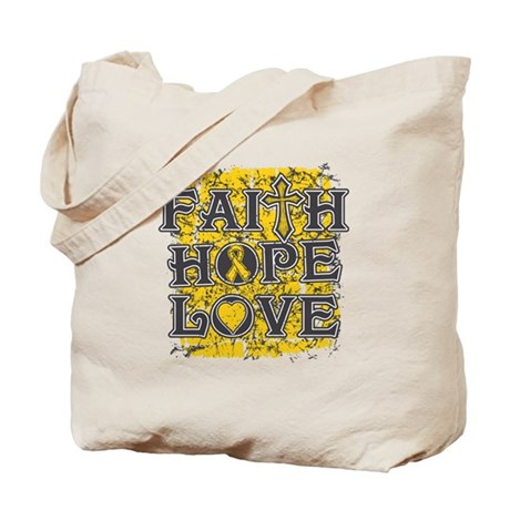 Childhood Cancer Faith Hope Love Tote Bag