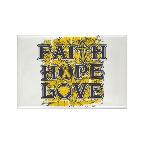 Childhood Cancer Faith Hope Love Rectangle Magnet