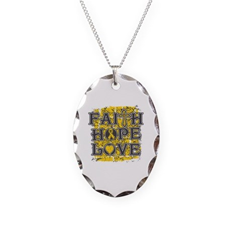 Childhood Cancer Faith Hope Love Necklace Oval Cha