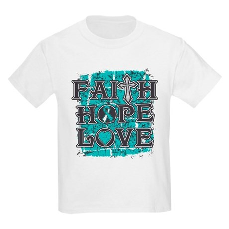 Cervical Cancer Faith Hope Love Kids Light T-Shirt