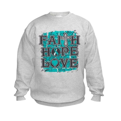 Cervical Cancer Faith Hope Love Kids Sweatshirt