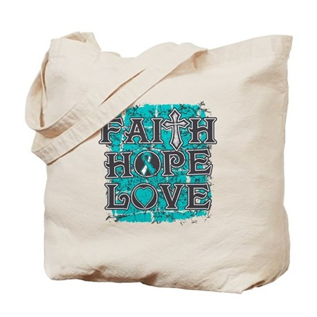 Cervical Cancer Faith Hope Love Tote Bag