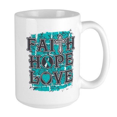 Cervical Cancer Faith Hope Love Large Mug