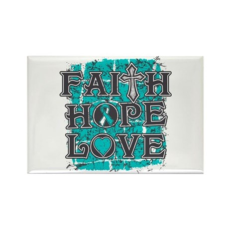 Cervical Cancer Faith Hope Love Rectangle Magnet