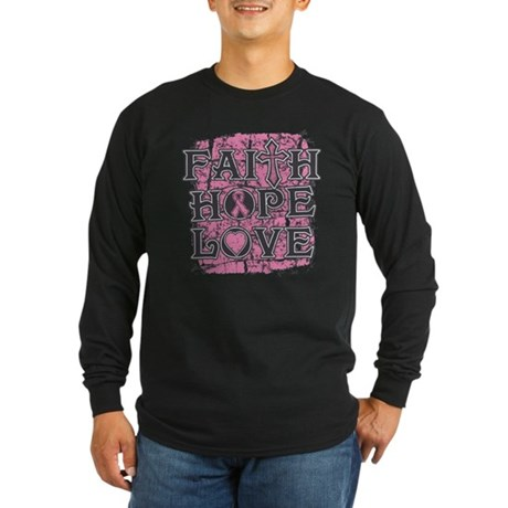 Breast Cancer Faith Hope Love Long Sleeve Dark T-S