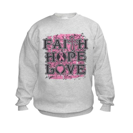 Breast Cancer Faith Hope Love Kids Sweatshirt
