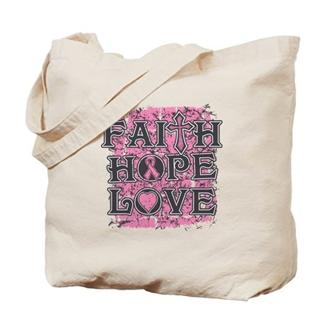 Breast Cancer Faith Hope Love Tote Bag