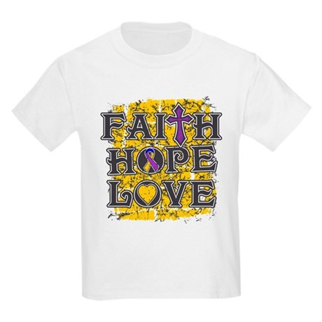 Bladder Cancer Faith Hope Love Kids Light T-Shirt