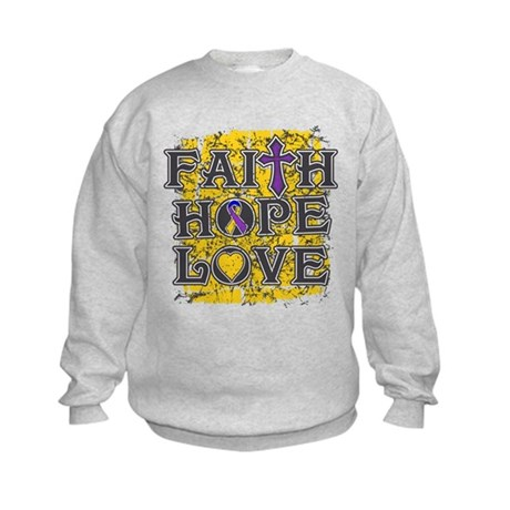 Bladder Cancer Faith Hope Love Kids Sweatshirt