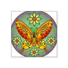 Celtic Butterfly (orange) Oval Sticker