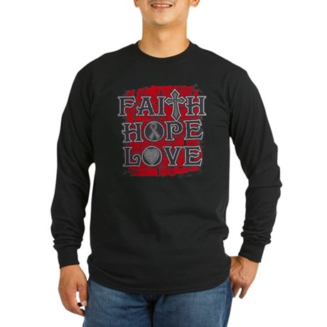 Brain Cancer Faith Hope Love Long Sleeve Dark T-Sh