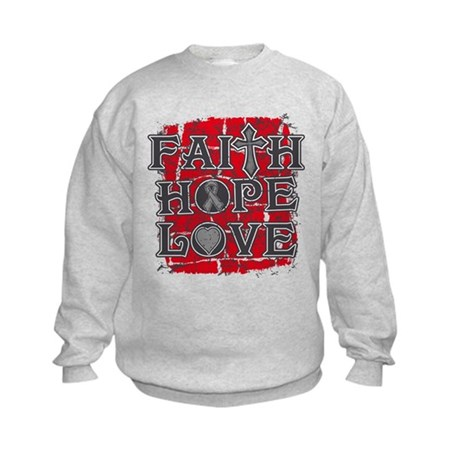 Brain Cancer Faith Hope Love Kids Sweatshirt