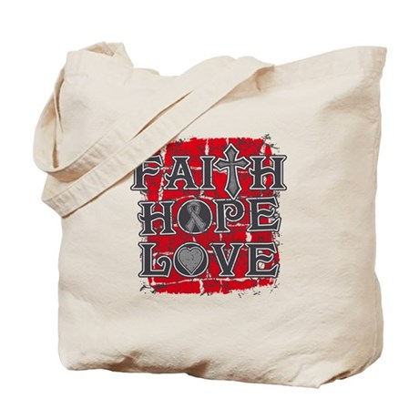 Brain Cancer Faith Hope Love Tote Bag