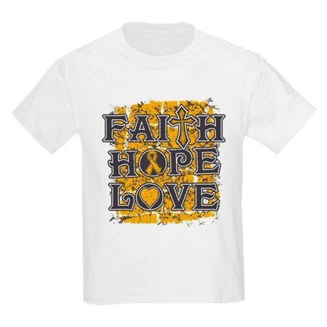 Appendix Cancer Faith Hope Love Kids Light T-Shirt