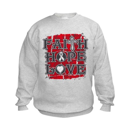 Bone Cancer Faith Hope Love Kids Sweatshirt
