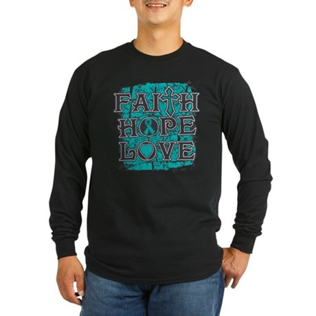 PCOS Faith Hope Love Long Sleeve Dark T-Shirt