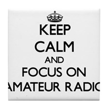 Keep calm and focus on Amateur Radio Tile Coaster