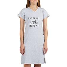 Baseball Eat Sleep Repeat Women's Nightshirt