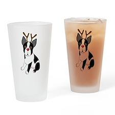 Boston Terrier Christmas Reindeer Drinking Glass