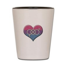 Bisexual Pride Heart with Gender Knot Shot Glass