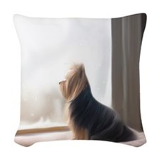 ByCatiaCho Yorkie At the window Woven Throw Pillow