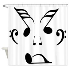 Face made up of musical notes Shower Curtain