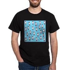 Santa Pattern on Blue. T-Shirt