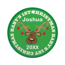 Babys 1st Christmas Reindeer Personalized Ornament