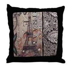 paris eiffel tower butterfly vintage  Throw Pillow