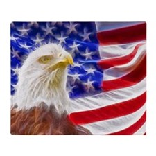 American Eagle and Flag Throw Blanket