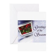 Blue Monitor Holiday Card Greeting Cards