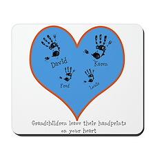 Personalized handprints 4 grandkids Mousepad