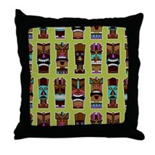 Colorful Tiki Mask Pattern Throw Pillow