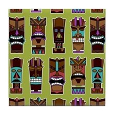Colorful Tiki Mask Pattern Tile Coaster