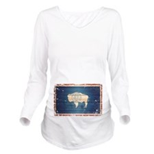 Wyoming State Flag Long Sleeve Maternity T-Shirt