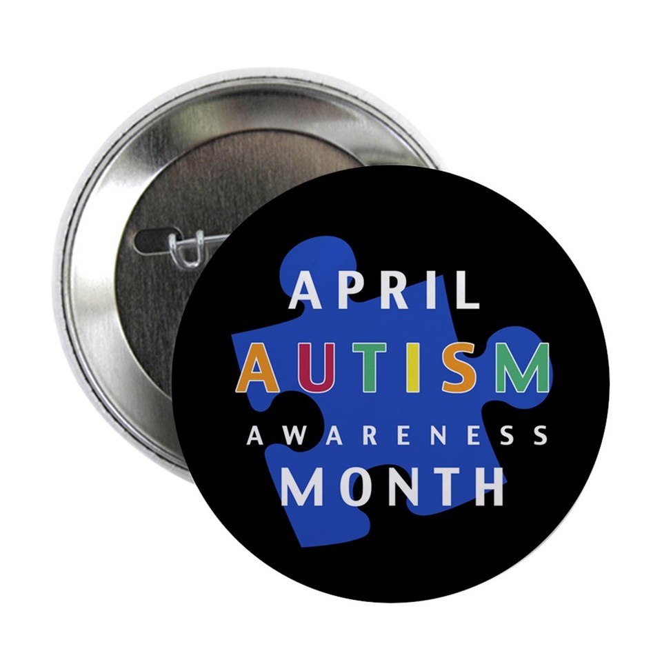 April Buttons  Autism Awareness Puzzle   2.25 Button (100 pack