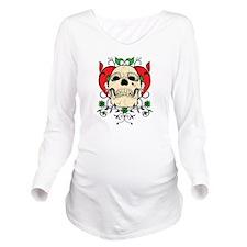 Skull and Heart Long Sleeve Maternity T-Shirt