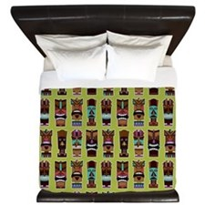 Colorful Tiki Mask Pattern King Duvet