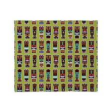 Colorful Tiki Mask Pattern Throw Blanket